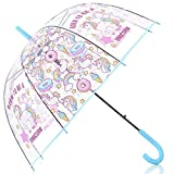 HAOCOO Unicorn Clear Umbrella, Bubble Transparent Fashion Dome Auto Open Umbrella Windproof for Outdoor Weddings (Blue)