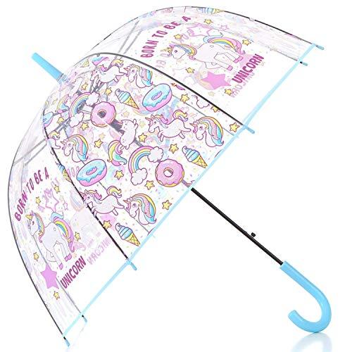 HAOCOO Unicorn Clear Umbrella, Bubble Dome Auto Open Umbrella Windproof for Outdoor Weddings (Blue)