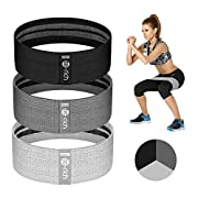 #LightningDeal Te-Rich Resistance Bands for Legs and Butt, Fabric Women/Men Stretch Exercise Loops, Thick Wide Non-Slip Gym Bootie Band 3 Set for Squat Glute Hip Thigh Workout Training (Pink/Grey/Black)