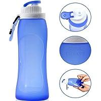 CoWalkers Botella de agua plegable,botella de agua de los deportes del silicón 17oz, botella de agua de ciclo plegable y plegable con el mosquetón de aluminio, botella de agua del silicón líquido libre de BPA