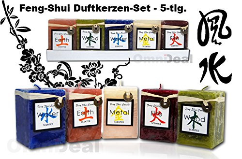 /Cada uno de Aproximadamente 5/x 5/x 5/cm Gies Kerzen 12120/de Cinco Feng Shui Velas perfumadas Incluye 5/Monedas de la Suerte Chinas/