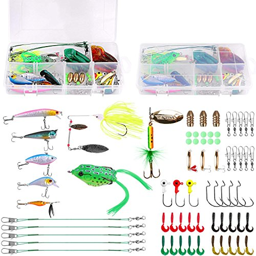 PLUSINNO Fishing Lures Baits Tackle Including Crankbaits, Spinnerbaits, Plastic Worms, Jigs, Topwater Lures, Tackle Box and More Fishing Gear Lures Kit Set (67Pcs Fishing Lure Tackle)