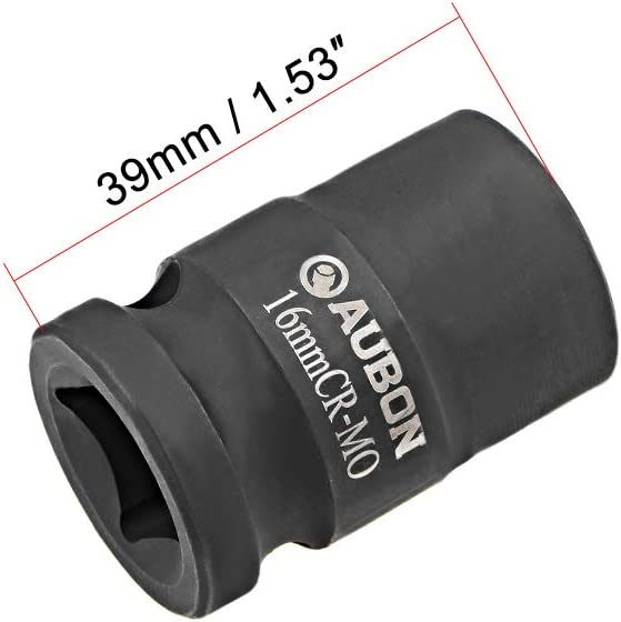 Cr-Mo Alloy Steel sourcing map 2 Pcs 1//2-Inch Drive by 16mm Shallow Impact Socket 6-Point Metric