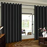 Patio Door Curtain For Sliding Door Extra Wide Premium Thermal Insulated Blackout Curtain Panel, Room Divider Grommet Top Curtain Ideal for Sliding and Patio Doors, 8ft Tall, Black, One Panel