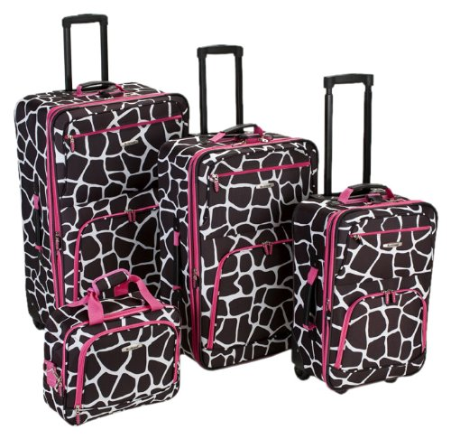 Amazon.com | Rockland Luggage 4 Piece Luggage Set, Black Plaid ...