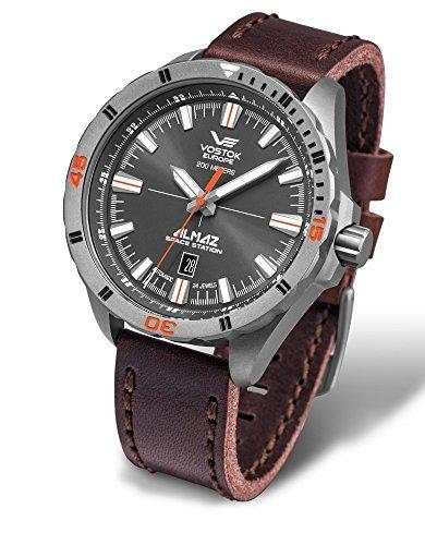 Vostok Europe Almaz Men's Analog Titanium 24J Automatic Watch Leather Strap NH35A-320H263