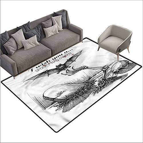 Anti-Slip Coffee Table Floor Mats Halloween,Skull Zombie 48