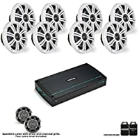 Kicker 44KXMA8008 800 watt amp with four pairs of KM654CW 6.5 Marine coaxial speakers with White and Charcoal Grills