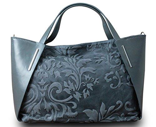 Fabriqué en Italie Luxe Femme Sac à main Sac à main Bag Shopper en cuir véritable gris foncé