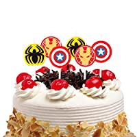 PANTIDE 6Pcs Superhero Birthday Candles Cake Topper Birthday Cake Decorations PartySuppliesforKidsBirthdayBabyShower
