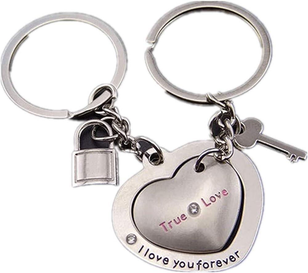 1 Pair Cute Heart Lovers Silver Metal Key Ring Chain Couple Keyring Keyfob Gift