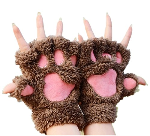 MizHome Cat Bear Plush Claw Paw Mitten Soft Winter Gloves Costume Light Coffee