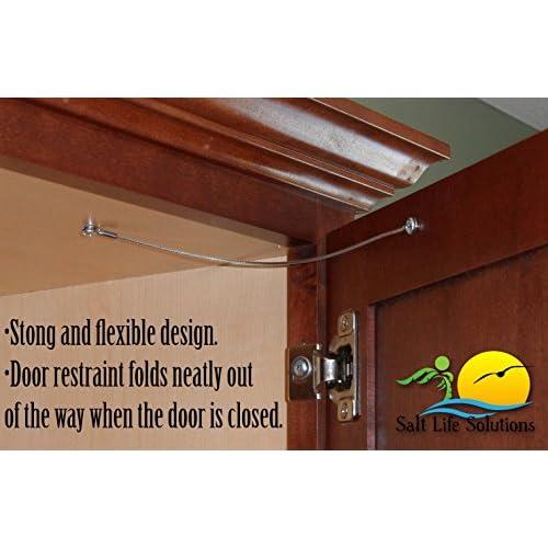 Cabinet Door Restraint 8 Inch Stainless Steel Cupboard Hinge Limiter Swing Restrictor Stopper Flexible Braided Cable ...  sc 1 st  CCAA & Cabinet Door Restraint 8 Inch Stainless Steel Cupboard Hinge ...
