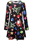 Women's Long Sleeve Winter Christmas Novelty Printed Party Swing Dress