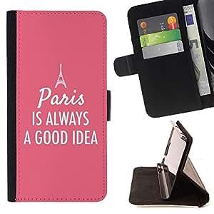 BullDog Case - FOR/Samsung Galaxy S3 III I9300 / - / Paris France Eifel tower pink text /- Monedero de cuero de la PU Llevar cubierta de la caja con el ID Credit Card Slots Flip funda de cuer
