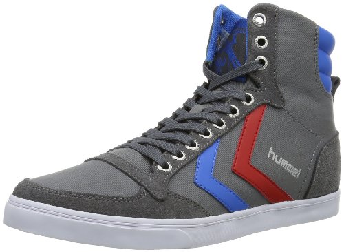 Hummel - Slimmer Stadil High, Scarpe da ginnastica Uomo Grigio (Castle Rock/Ribbon Red/Brilliant Blue)