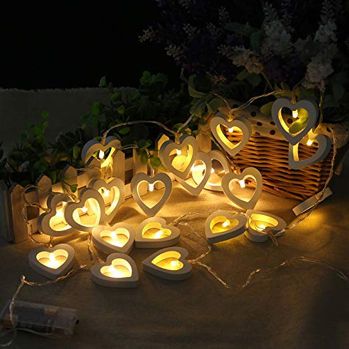Wooden Heart Led Lights in US - 3