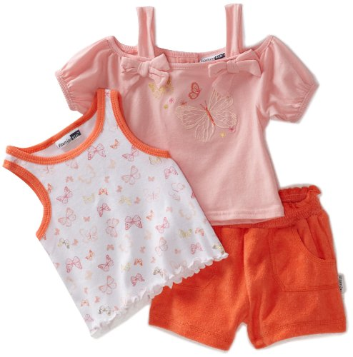 Vitamins Baby Baby Girls' Butterflies 3 Piece Short Set