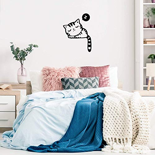 Vinyl Wall Art Decal - Sleeping Kitten - 28.5