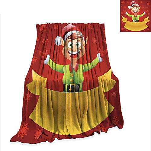 Anniutwo Digital Printing Blanket Elf Christmas Card with red Background 60