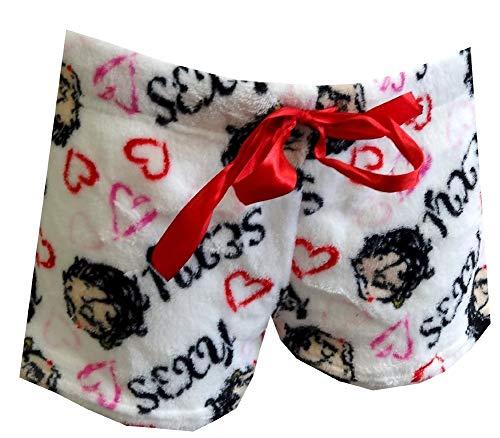 Betty Boop Women's Winking White Plush Sleep Shorts (X-Large)