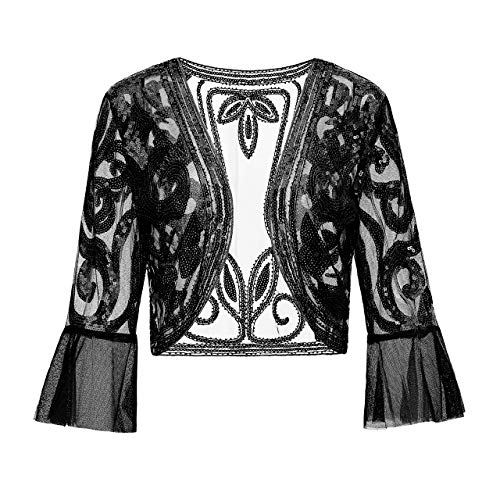 Metme Sequin Jacket Open Front Glitter Cropped Bolero Shrug 2/3 Length Bell Sleeves Lace Cardigan]()