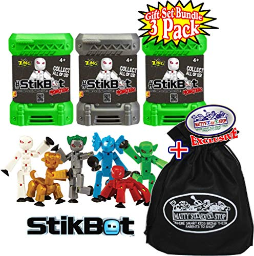 Hog Wild StikBot Monsters Mystery Capsule Figures Gift Set Bundle with Bonus Matty's Toy Stop Storage Bag - 3 Pack ()
