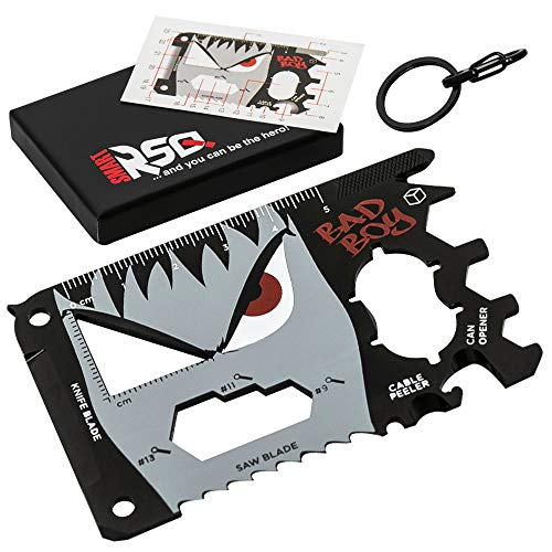 23 in 1 Credit Card Multi Tool Gifts for Him. Unique Gifts for Men who Have Everything - Coolest Gadgets Regalos para Hombre Multi Tool Card Set - Bad Boy Edition v3.0