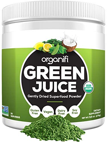 Organifi: Green Juice - Organic Superfood Supplement Powder - 30 Day Supply - USDA Certified Organic Vegan Greens- 9.5 Ounce (Pack of 1) (Best Wheatgrass Powder Reviews)