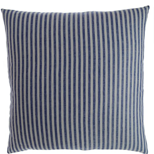 Luxury Linen Damask Navy Blue and White Striped 18x18 inch Small Square Pillow Cover Shams Multicolor Ticking Thin Pin French Vertical Stripe Sofa Throw Accent Decorative Couch Reversible Covers Case - Luxury Damask Pillow Sham