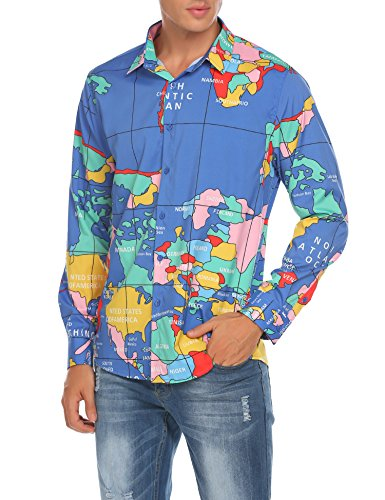 COOFANDY Men's Long Sleeve World Map Printed Casual Button Down Dress Shirt For Party, Club,Wedding,Costume,Vacation, Blue, -