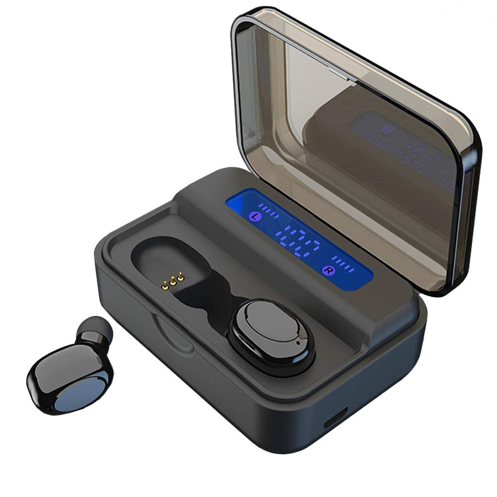 Wireless Earbuds TWS Stereo Headphones Bluetooth 5.0 Headset in-Ear Earphone One-Step Pairing with Touch-Control Operation High Definition Mic Stereo Calls with 2200mA Charging Case