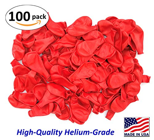 Pack of 100, Bright Red Color Latex Balloons, MADE IN USA!