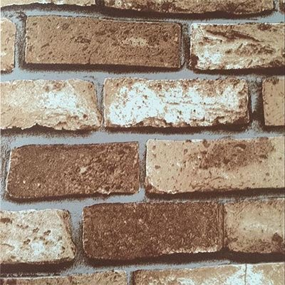 (3D Vinyl Brick Wallpaper Stack Stone Brick Tile Stick Wall Decal Wall Paper -Light Brown)
