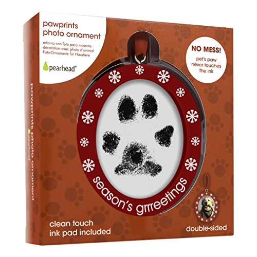 Pearhead Pawprints Double-Sided Holiday Photo Ornament with Clean-Touch Ink Pad by Pearhead