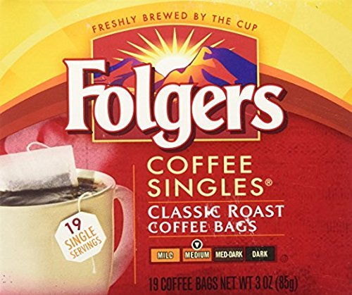 Folgers Classic Medium Roast Coffee Singles Serve Bags, 19 Count (Pack of 8) by Folgers
