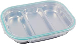 SU Company Stainless Steel Divided Tray Divided Plate Snack Plate Diet Food Control Tray 3 Compartment Food Tray with Lid(Mint Color)
