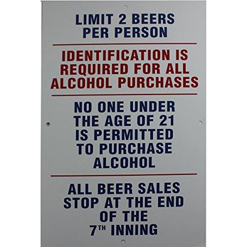Stadium 15x25 Limit 2 Beers Per Person. Replica Aluminum Sign