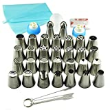 TANGCHU Russian Piping Tips 44PCS/SET Stainless Steel Large Size Icing Syringe Set DIY Coupler Nozzle With Packing Box