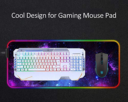 XIAOZHI Extended Glowing LED Keyboard Mouse Mat, no se desliza de goma