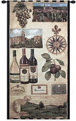 (Fine Art Tapestries Wine Country I Hand Finished European Style Jacquard Woven Wall Tapestry USA 53X27)