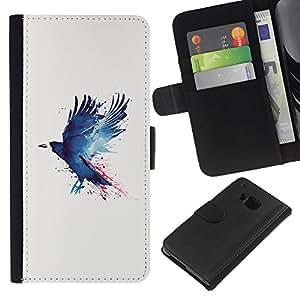 JackGot ( Grunge azul Cuervo ) HTC One M7 la tarjeta de Crédito Slots PU Funda de cuero Monedero caso cubierta de piel