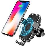 Bovon Caricabatterie Wireless Auto, Air Vent Supporto per iPhone X/ 8/8+/Galaxy S8/ S8+/ S7/S7 edge/S6 Edge+/Note 5/Note 8 (Nero)