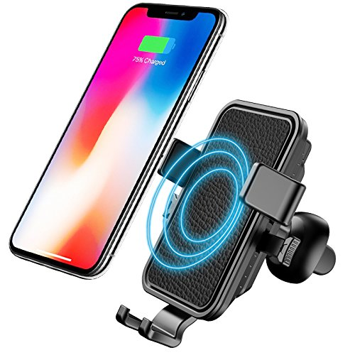 Wireless Car Charger, Comsoon Air Vent Car Phone Holder, Standard Charging for iPhone X/ 8/ 8 Plus & Qi Devices, Fast Charging for Galaxy S8/ S8+/ S7/ S7 edge /S6 edge+/ Note 5/ Note 8 (Black) by Comsoon