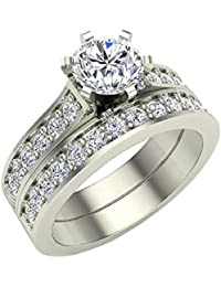 Diamond Wedding Ring Set for Women Bridal Sets 14K Gold - 1.10 ctw Cathedral Style (J,I1)
