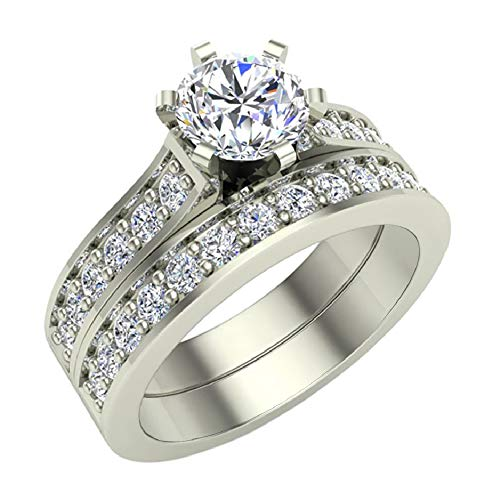 Round Brilliant Cathedral Accented Diamond Wedding Ring Set 1.10 carat total weight 14K White Gold (Ring Size 5)