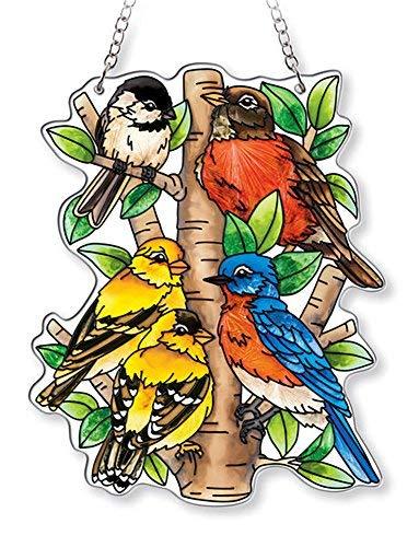 AMIA - Bluebird - Nested Birds Medium Water Cut Suncatcher Bluebird Stained Glass Suncatcher