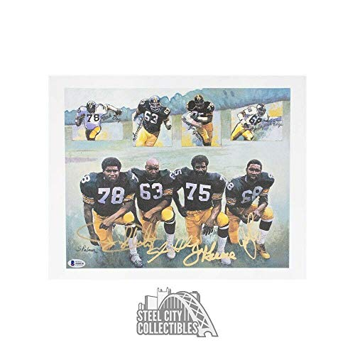 Steel Curtain Autographed Pittsburgh Steelers Lithograph - BAS LOA - Beckett Authentication - Autographed NFL Art