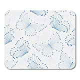 Boszina Mouse Pads Technology White Butterfly with Blue Butterflies Made of Connected Lines and Dots Geometric Abstract Mouse Pad for notebooks,Desktop Computers mats 9.5'' x 7.9'' Office Supplies