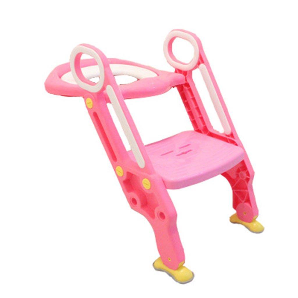 ピンクの安全で快適な幼児のトイレの幼児の椅子の少女の折り畳み式のトイレトレーニングポータブルと耐久性のある子供のトイレの椅子最大。 17歳に適した75kg B07FCDJRH4